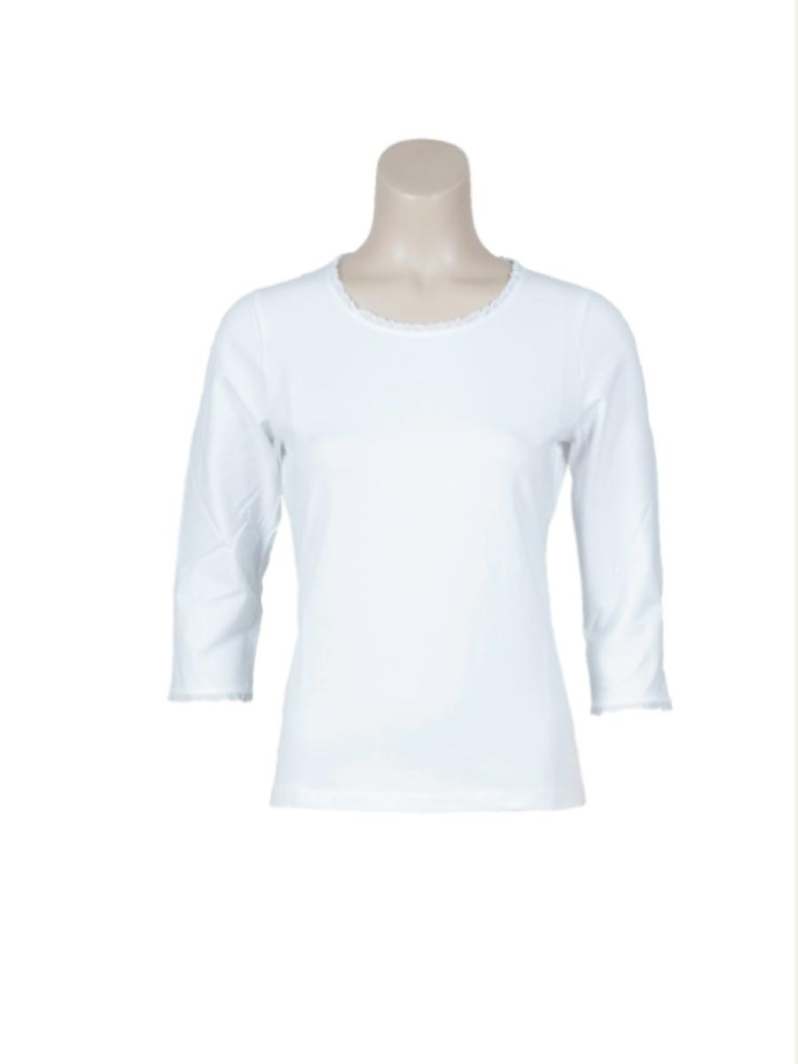 T-shirt kantje basic 3/4 m wit